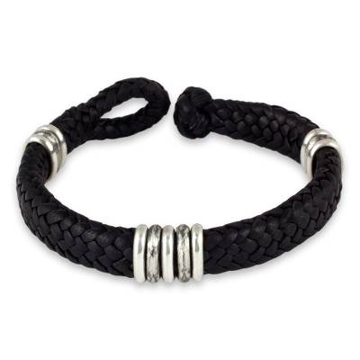 Men's leather braided bracelet, 'Intrepid by Nature' - Men's Black Leather Braided Bracelet with Sterling Silver