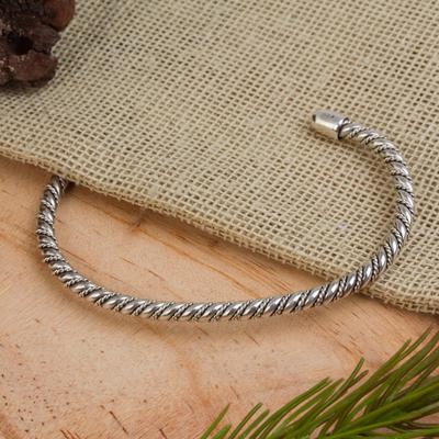Sterling silver cuff bracelet, 'Spiral Embrace' - Handcrafted Sterling Silver Spiral Cuff Bracelet from Mexico