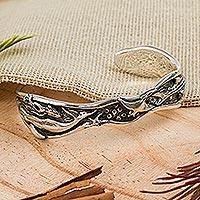 Sterling silver cuff bracelet, 'Sea Life Wonders' - Taxco Jewelry Sterling Silver Cuff Bracelet with Marine Life
