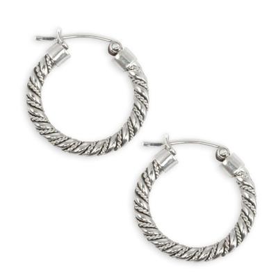 Hoop Earrings Handcrafted of Sterling Silver in Taxco
