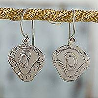 Sterling silver dangle earrings, 'Earth Layers' - Polished Sterling Silver Earrings Handcrafted in Taxco