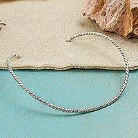 Sterling silver choker, 'Spiral Embrace' - Handcrafted Sterling Silver Spiral Choker Necklace