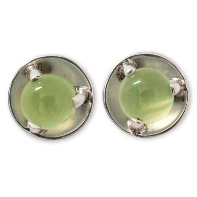 Prehnite button earrings, 'Light of Taxco' - Handcrafted Prehnite and Taxco Silver Earrings