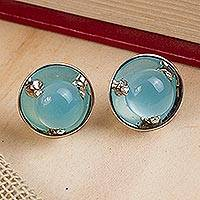 Featured review for Chalcedony button earrings, Light of Taxco