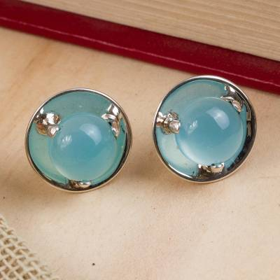 Chalcedony button earrings, 'Light of Taxco' - Polished Taxco Silver Earrings with Blue Chalcedony