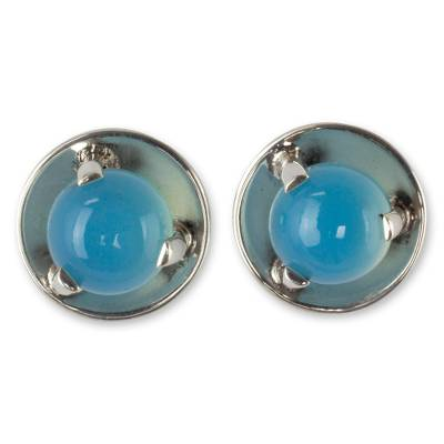 Polished Taxco Silver Earrings with Blue Chalcedony