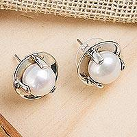Cultured pearl button earrings, 'Light of Taxco' - Cultured Pearl and Taxco Silver Button Earrings