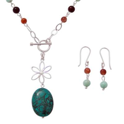 Agate Reconstituted Turquoise and 925 Silver Jewelry Set