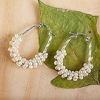 Cultured pearl hoop earrings, 'Litibu Sea Foam' - Handcrafted Sterling Silver and Cultured Pearl Hoop Earrings
