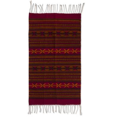 Zapotec wool rug, 'Traditional Cross' (2x3.5) - Handwoven Burgundy and Orange Geometric Zapotec Rug 2 x 3.5