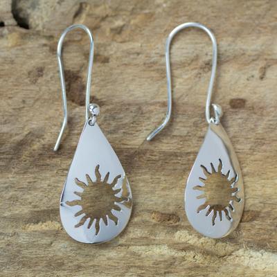 Sterling silver dangle earrings, 'Sun Shower' - Taxco Sunshine Sterling Silver Dangle Earrings