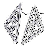 Sterling silver drop earrings, 'Dynamic Geometry' - Geometric Handcrafted Mexico Sterling Silver Earrings
