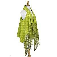 Cotton rebozo vest, 'Fresh Radiance' - Lime Green Mexican Rebozo Vest Hand Woven in Cotton
