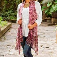 Cotton rebozo vest, 'Color of Tradition' - Original Mexican Rebozo Vest Hand Woven in Purple Cotton