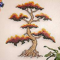 Steel wall art, 'Red Bonsai' - Artisan Crafted Steel Wall Sculpture of a Tree
