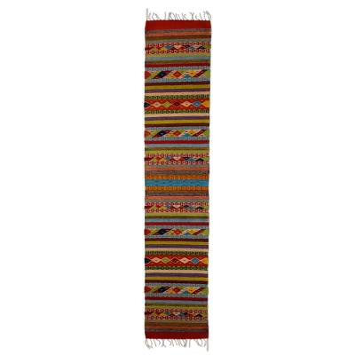 Zapotec wool runner, 'Colors of the Sierra' (1.5x6.5) - Authentic Zapotec Handwoven Wool Runner Rug