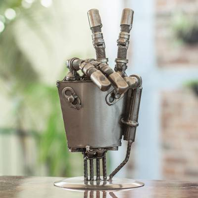 Auto part sculpture, 'Rustic Robot Hand' - Mexico Handcrafted Recycled Metal Sculpture