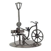 Auto part sculpture, 'Bicyclist in the Park' - Mexican Recycled Car Part Bicycle Theme Sculpture