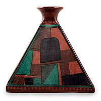 Ceramic decorative vase, 'Yacata Pyramid' - Multicolor Handcrafted Decorative Ceramic Vase from Mexico