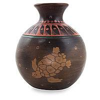 Ceramic vase, 'Colola Turtles' - Handcrafted Decorative Ceramic Vase in Earthtones