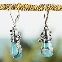 Amazonite dangle earrings, 'Golden Sea Currents' - Sterling Silver and Composite Amazonite Earrings from Mexico