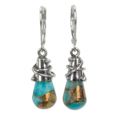 Amazonite dangle earrings, Golden Sea Currents