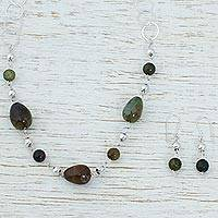 Agate jewelry set, 'Tropical Jungle' - Handcrafted Modern Sterling Silver and Agate Jewelry Set