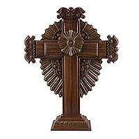 Parota wood cross, 'Resplendent' - 24-Inch Artisan Carved Parota Wood Cross from Mexico