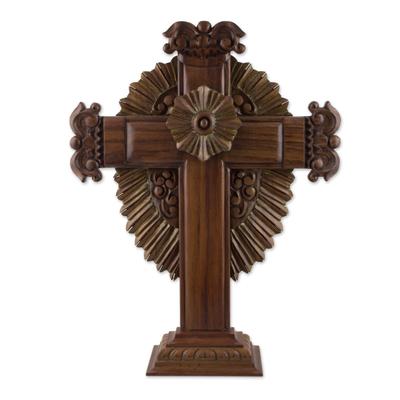Parota wood cross, 'Resplendent' - 24-Inch Artisan Carved Parota Wood Cross from Mexico