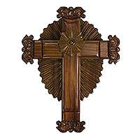 Parota wood cross, 'Resplendent in Glory' - Mexican Parota Wood Artisan Carved Wall Cross