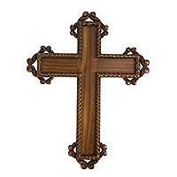 Parota wood cross, 'Colonial Faith' - Hand Carved Gilded Hardwood Cross for Wall Display