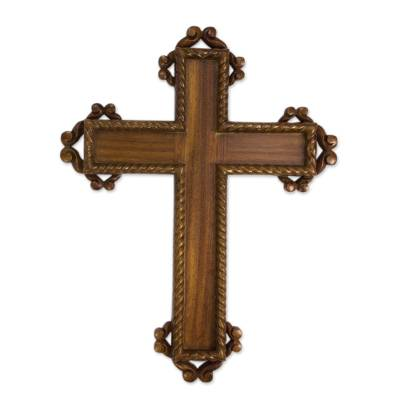 Hand Carved Gilded Hardwood Cross for Wall Display