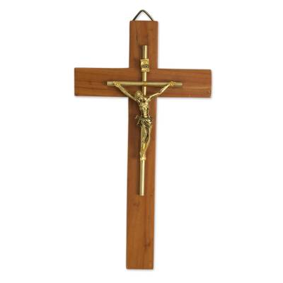 Cedar wood crucifix, 'Jesus Our Savior' - Artisan Crafted Cedar Wood Modern Wall Crucifix