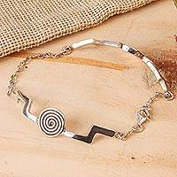 Sterling silver link bracelet, 'Light of Energy' - Abstract Sterling Silver Link Bracelet from Mexico