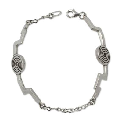 Abstract Sterling Silver Link Bracelet from Mexico