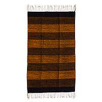 Zapotec wool rug, 'Tropical Heat' (2x3.5) - Zapotec Brown and Orange 2 by 3.5 Foot Handwoven Wool Rug