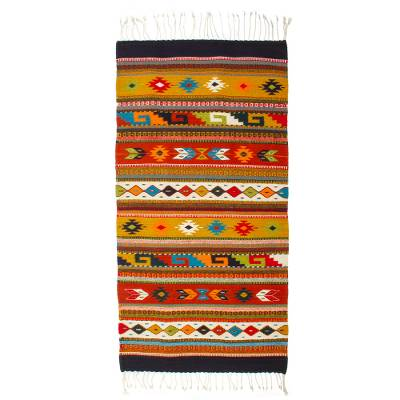 Zapotec wool rug, 'Festive Guelaguetza' (2.5x5) - Handwoven Authentic Zapotec Rug in Bright Colors (2.5 x 5)