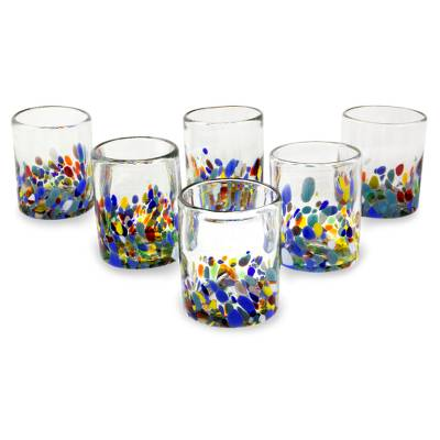 Blown glass juice glasses, 'Confetti Festival' (set of 6) - Hand Blown Glass Colorful Juice Glasses (Set of 6)