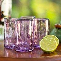 Blown glass shot glasses, 'Lilac Mist' (set of 4) - Set of 4 Purple Blown Glass Mezcal Shot Glasses from Mexico