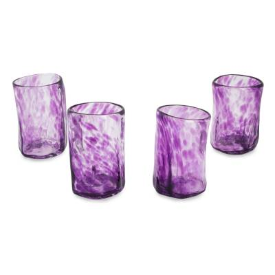 Blown glass shot glasses, 'Lilac Mist' (set of 4) - Set of 4 Purple Blown Glass Mezcal Shot Glasses from Mexico