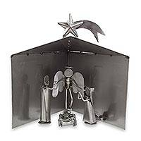 Auto part nativity scene, 'Holy Family Christmas' (5 pieces) - Mexican 5-Piece Recycled Metal Auto Part Nativity Scene