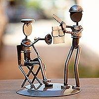 Auto part sculpture, 'Rustic Film Director' - Recycled Metal and Auto Part Filmmaker Sculpture from Mexico