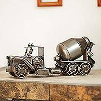 Recycled metal sculpture, 'Rustic Cement Mixer' - Recycled Auto Part Rustic Cement Mixer Sculpture from Mexico