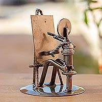 Auto part sculpture, 'Rustic Artist at Work' - Handcrafted Recycled Metal and Auto Part Painter Sculpture