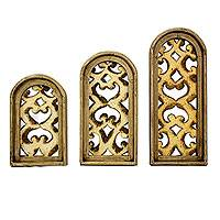 Metal and wood wall panels, 'Classic Romanticism' (set of 3) - Hand Crafted Sheet Metal and Wood Wall Panels (Set of 3)