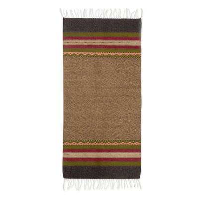 Zapotec wool rug, 'Tlacolula Earth' (2.5x5) - Earth Tone Handwoven 2.5 x 5 Authentic Zapotec Rug