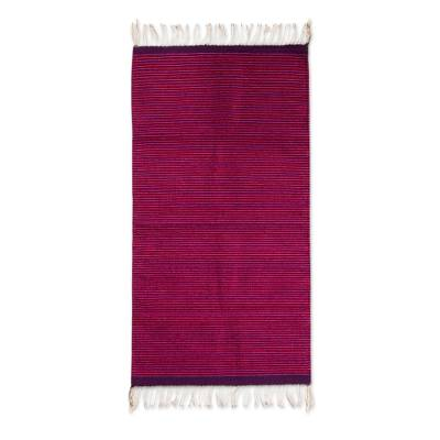 Zapotec wool rug, 'Oaxaca Guelaguetza' (2.5x5) - Pink and Purple Handwoven 2.5 x 5 Authentic Zapotec Rug