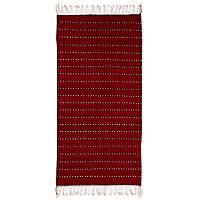 Zapotec wool rug, 'Zimatlan Paths' (2.5x5) - Handwoven Authentic Zapotec Rug in Red (2.5 x 5)