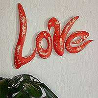 Iron wall sculpture, 'Love' - Mexico Fair Trade Red Iron Wall Art Love Sign Sculpture