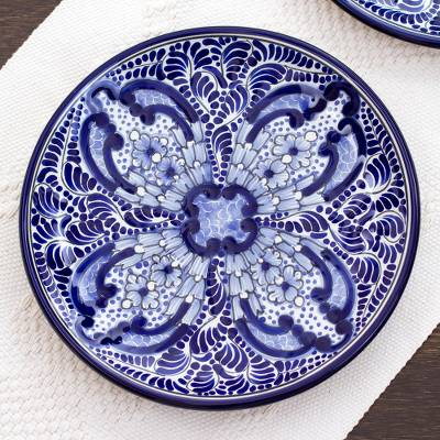 Ceramic luncheon plates, 'Puebla Kaleidoscope' (pair) - Artisan Crafted Blue Ceramic Luncheon Plates (Pair)